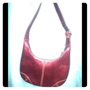 Fossil Burgundy Leather Satchel w cloth lining